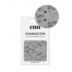 Charmicon 3D Silicone Stickers 176 Black Flowers