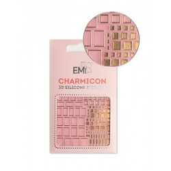 Charmicon  Silicone Stickers  158 Squares Gold