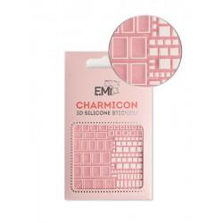Charmicon  Silicone Stickers  161 Squares White